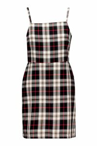 Womens Tartan Square Neck Woven Pinafore Dress - black - 14, Black