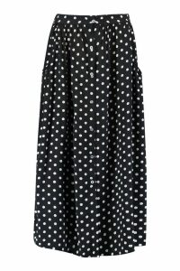 Womens Polka Dot Button Through Midi Skirt - black - 12, Black