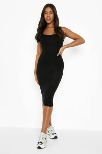 Womens Basic Square Neck Bodycon Midi Dress - black - 16, Black