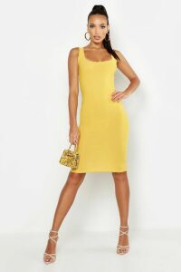 Womens Basic Square Neck Bodycon Midi Dress - yellow - 16, Yellow