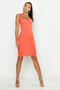 Womens Basic Square Neck Bodycon Midi Dress - orange - 10, Orange