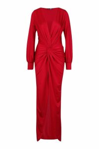 Womens Daria Twist Front Plunge Slinky Maxi Dress - red - 8, Red