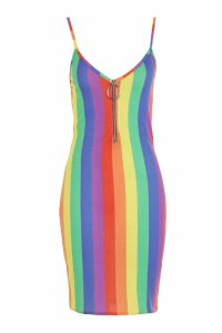 Womens Rainbow Stripe O-Ring Dress - red - 8, Red