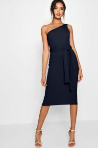 Womens One Shoulder Belted Midi Dress - navy - 14, Navy
