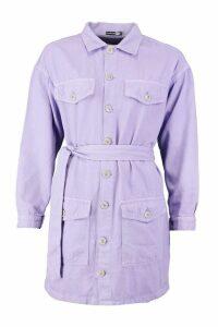 Womens Tie Waist Utility Pocket Denim Dress - purple - 10, Purple