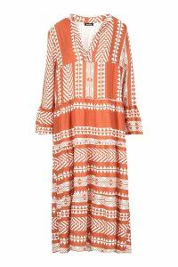 Womens Aztec Smock Maxi Dress - orange - S, Orange