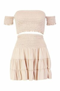 Womens Shirred Bardot Top & Ruffle Skirt Co-ord - beige - 14, Beige