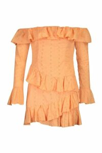 Womens Broderie Anglais Ruffle Off The Shoulder Mini Dress - orange - 12, Orange
