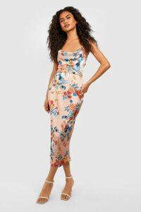 Womens Satin Floral Cowl Flute Hem Slip Dress - metallics - 16, Metallics