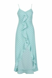 Womens Polka Dot Wrap Front Ruffle Hem Midi Dress - green - 16, Green