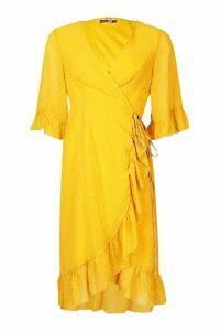 Womens Dobby Chiffon Wide Sleeve Midi Wrap Dress - yellow - 8, Yellow