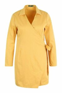 Womens Plus Wrap Belted Shirt Dress - yellow - 18, Yellow