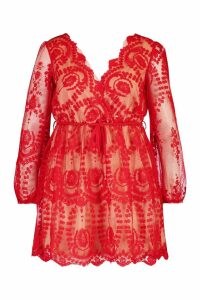 Womens Plus Lace Plunge Skater Dress - red - 16, Red