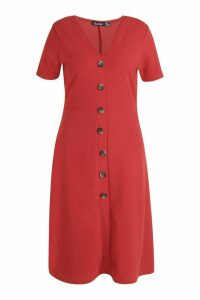 Womens Plus Button Front Midi Dress - orange - 20, Orange