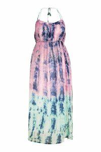 Womens Plus Katy Tie Dye Dip Dye Maxi Dress - Pink - 24, Pink