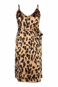 Womens Plus Libby Leopard Print Strappy Midi Dress - brown - 20, Brown