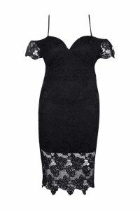 Womens Plus Corded Lace Midi Dress - black - 20, Black