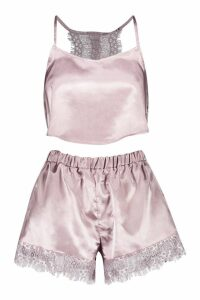 Womens Lace Racerback Satin Cami & Short Set - beige - 16, Beige