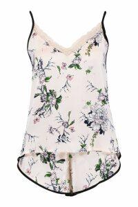 Womens Floral Print Cami & Short Set - Pink - S, Pink