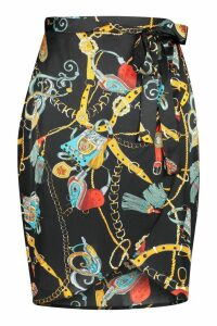Womens Plus Satin Chain Print Ruffle Midi Skirt - black - 28, Black