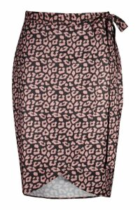 Womens Plus Snake Print Ruffle Wrap Skirt - Pink - 28, Pink