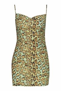 Womens Petite Animal Cowl Neck Slip Dress - green - 12, Green