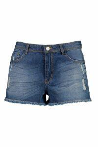 Womens Plus Distressed Frayed Edge Denim Shorts - blue - 28, Blue