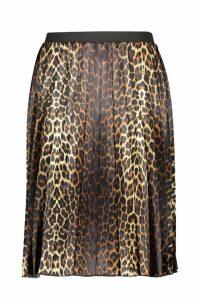 Womens Plus Satin Leopard Print Midi Skater Skirt - brown - 28, Brown
