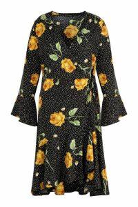 Womens Plus Wrap Front Ruffle Hem Midi Dress - black - 18, Black
