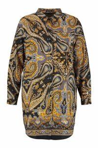 Womens Plus Scarf Print Oversized Shirt Dress - black - 18, Black