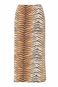 Womens Petite Tiger Print Slinky Midi Skirt - orange - 8, Orange