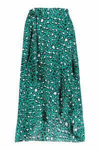 Womens Petite Tie Front Animal Ruffle Midaxi Skirt - green - 14, Green
