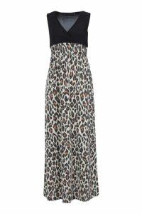 Womens Petite Leopard Print Maxi Dress - black - 8, Black