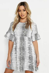 Womens Petite Snake Print Ruffle Smock Dress - grey - 14, Grey