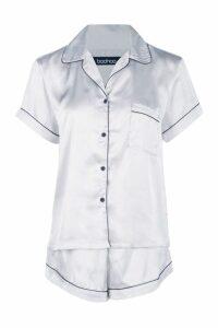 Womens Satin Button Through Short PJ Set - grey - 16, Grey