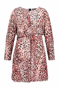 Womens Plus Wrap Front Woven Animal Skater Dress - Pink - 28, Pink