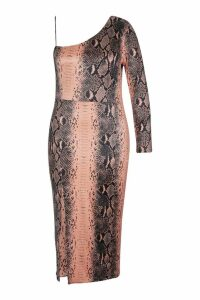 Womens Plus Slinky Snake Print Shoulder Midi Dress - brown - 24, Brown