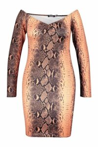 Womens Plus Snake Print Off The Shoulder Bodycon Dress - brown - 18, Brown