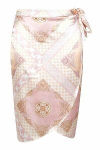 Womens Plus Satin Scarf Print Wrap Tie Midi Skirt - Pink - 20, Pink