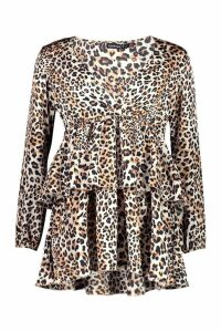 Womens Petite Leopard Print Plunge Tiered Skater Dress - beige - 8, Beige