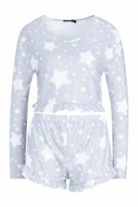 Womens Star Print Frill PJ Short Set - grey - S, Grey