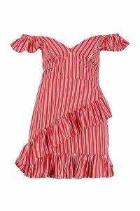 Womens Petite Stripe Frill Detail Mini Dress - red - 10, Red