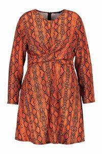Womens Plus Snake Wrap Front Woven Skater Dress - orange - 18, Orange