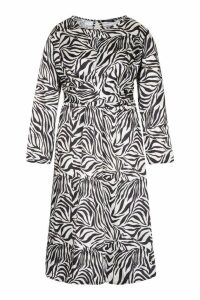 Womens Plus Knot Front Zebra Midi Dress - beige - 18, Beige