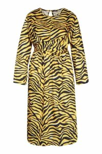 Womens Plus Knot Front Zebra Midi Dress - yellow - 16, Yellow