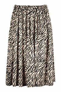 Womens Plus Zebra Print Midi Skater Skirt - beige - 28, Beige