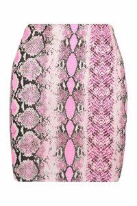 Womens Petite Neon Snake Mini Skirt - Pink - 14, Pink