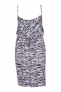 Womens Plus Pastel Zebra Slinky Cowl Midi Dress - purple - 24, Purple