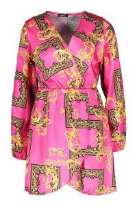Womens Petite Wrap Chain Print Dress - Pink - 14, Pink