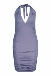 Womens Plus Neon Plunge Ruched Bodycon Dress - grey - 26, Grey